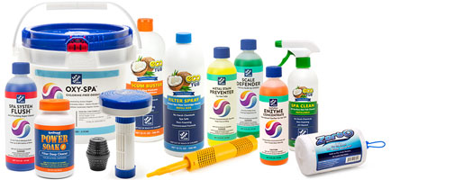 Spa Chemicals, Sanitizers, and Cleaners Arranged to Show Selection