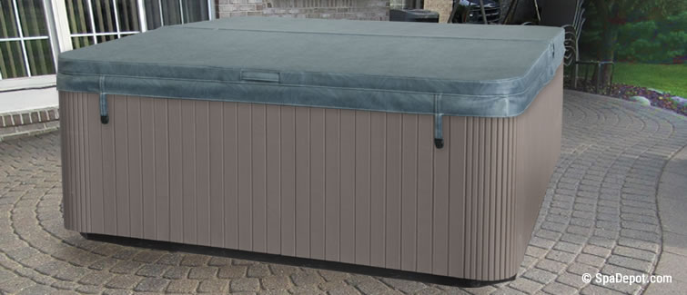 Hot tub buyers guide spadepot gray hot tub cover and spa on cobblestone patio sciox Image collections